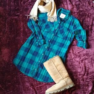 Blue green plaid shirt dress M